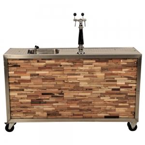 Luxe mobiele bar houtstrip met aansluiten huren Barendrecht en Rotterdam