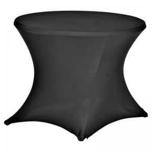 Tafelrok (stretch) zwart tafel rond 85 cm huren Barendrecht en Rotterdam
