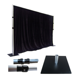 Pipe & drape zwart 2m hoog, per strekkende mtr huren Barendrecht en Rotterdam