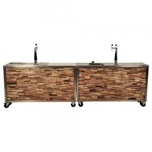 Luxe mobiele bar houtstrip 3,5m met koeling/spoelbak huren Barendrecht en Rotterdam