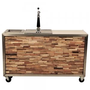 Luxe mobiele bar houtstrip en koeling. Geen spoelbak huren Barendrecht en Rotterdam